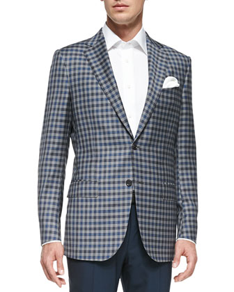 Check Two-Button Jacket, Gray/Blue