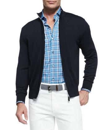 Reversible Zip-Front Vest, Zip-Front Jersey Jacket & Five-Pocket Denim Jeans