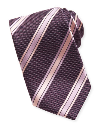 Satin-Striped Grenadine Tie, Purple