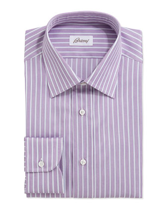 Track-Stripe Poplin Dress Shirt, Light Purple