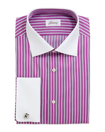 Contrast-Collar Striped Dress Shirt, Magenta/White