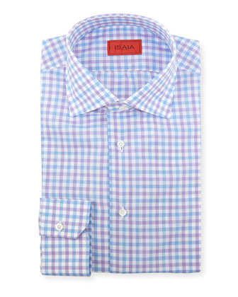 Woven Box-Check Dress Shirt, Purple/Blue