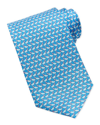 Whale-Print Silk Tie, Light Blue