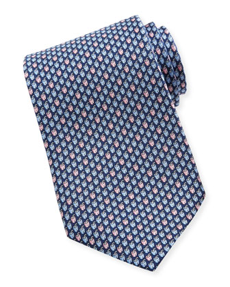 Chili Pepper-Print Silk Tie, Navy