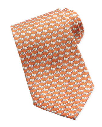 Lion-Print Silk Tie, Orange
