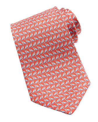 Sailboat-Print Silk Tie, Red