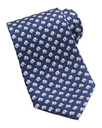 Elephant-Print Silk Tie, Navy