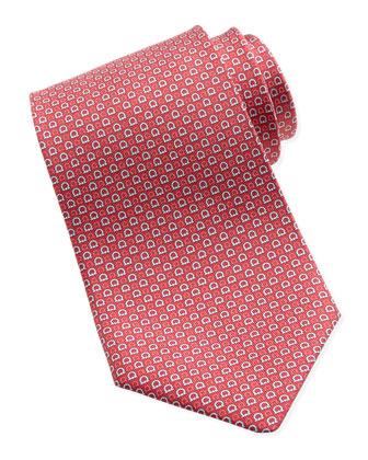 Micro-Gancini Silk Tie, Red