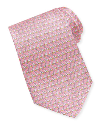 Sailboat-Print Silk Tie, Pink