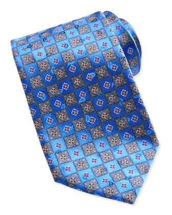 Checkerboard Medallion Tie, Blue