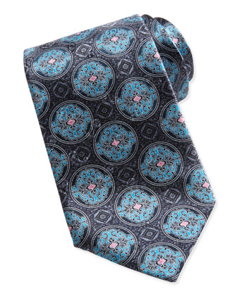 Fancy Circle Medallion Silk Tie, Gray