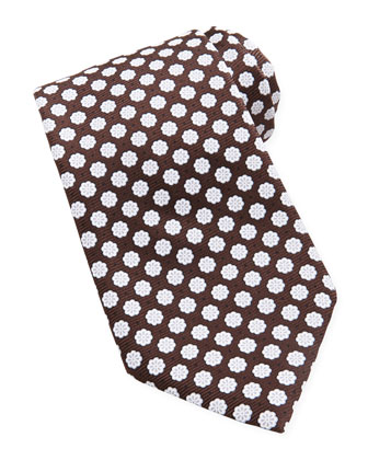 Woven Chalk Flowers Silk Tie, Brown