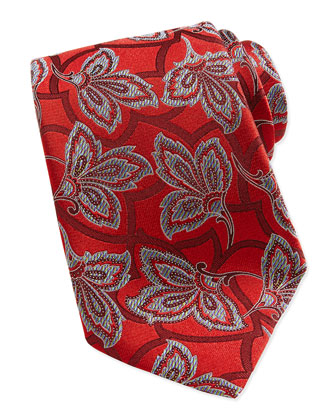 Large Vine Woven Tie, Red