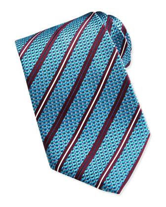 Woven Satin-Stripe Silk Tie, Teal