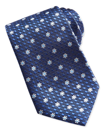 Textured Spaced Flowers Tie, Navy