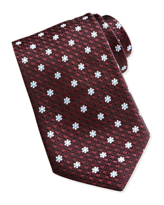 Textured Spaced Flowers Tie, Burgundy