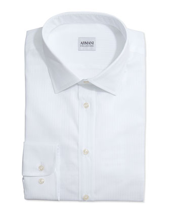 Tonal Textured Stripe Dress Shirt, White