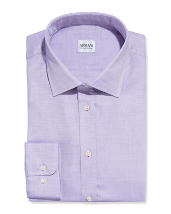 Textured Solid Dress Shirt, Light Purple