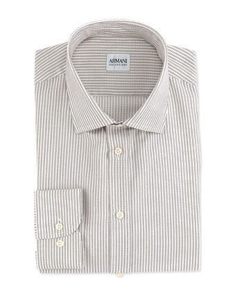 Track-Stripe Dress Shirt, White/Brown