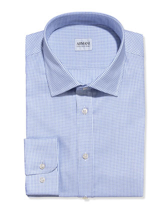 Textured Neat Dress Shirt, Navy/White