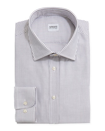 Textured Striped Dress Shirt, Gray