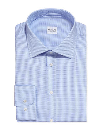 Textured Tickweave Dress Shirt, Light Blue