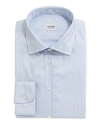 Shadow-Check Dress Shirt, White/Blue
