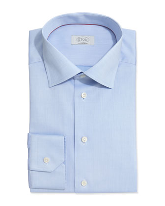Solid Fine-Twill Dress Shirt, Light Blue