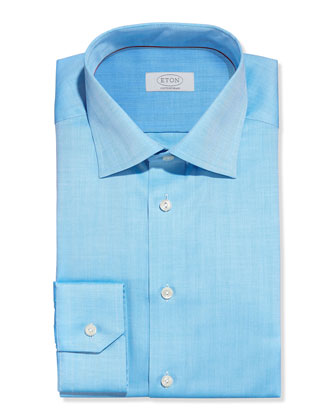 Solid Herringbone Dress Shirt, Aqua