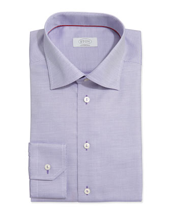 Textured Solid Dress Shirt, Purple