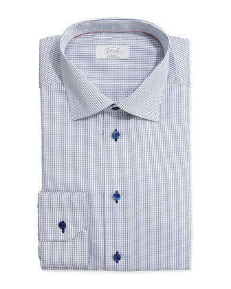 Graph-Check Dress Shirt, Navy