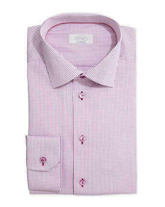 Graph-Check Dress Shirt, Raspberry