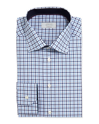 Check-on-White Dress Shirt, Light Blue