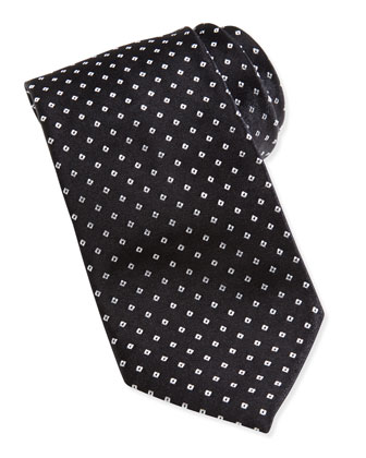 Mini Dotted Square Skinny Tie, Black