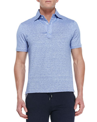 Linen-Cotton Melange Polo Shirt, Blue