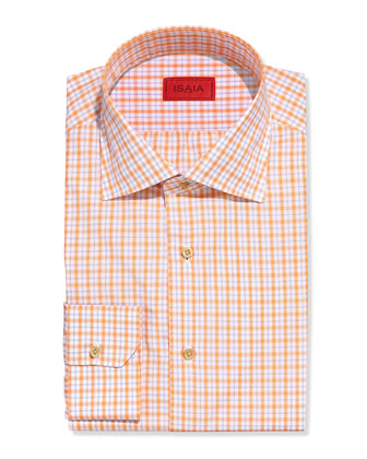 Box Plaid Dress Shirt, Tangerine