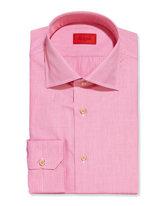 Solid Woven Dress Shirt, Coral