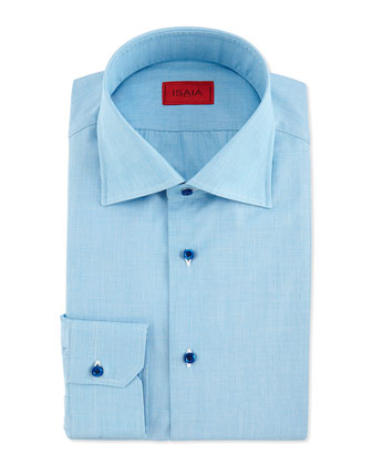 End-on-End Woven Dress Shirt, Aqua