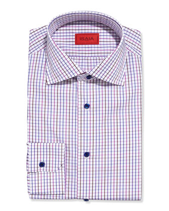 Tattersall Check Dress Shirt, Lavender/Pink/Brown