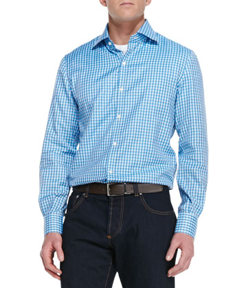Woven Check Sport Shirt, Blue/Aqua