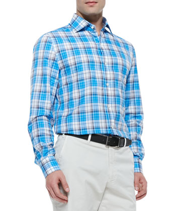 Plaid Button-Down Shirt, Aqua