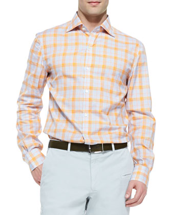 Madras Plaid Sport Shirt, Orange/Blue