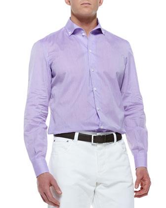 Woven Button-Collar Shirt, Purple