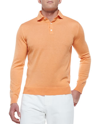 Cashmere Long-Sleeve Polo, Orange
