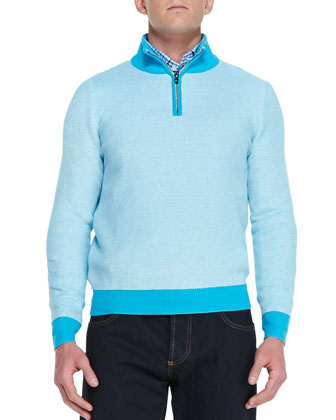Honeycomb-Knit Pullover Sweater, Aqua