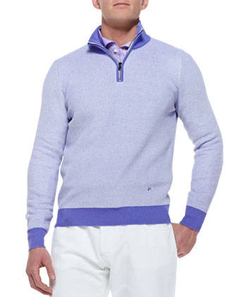 Honeycomb-Knit Pullover Sweater, Purple