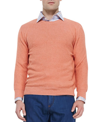 Mouline Crewneck Sweater, Orange