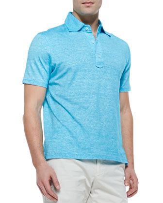 Heathered-Knit Polo Shirt, Aqua