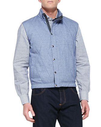 Quilted Jersey Vest, Blue