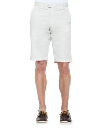 Flat-Front Chino Shorts, Stone